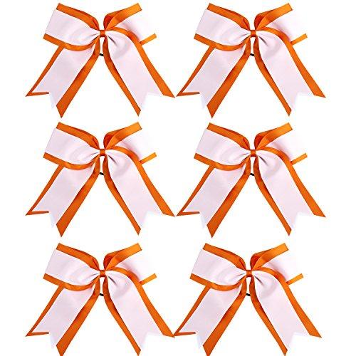 8 Inch 2 Colors 2 Layers 6 Pcs Jumbo Cheerleader Bows Ponytail Holder Cheerleading Bows Hair Elastic Hair Tie for High School College Cheerleading (Orange/White)