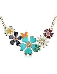Golden Tone Enamel Flower and Butterfly Bib Statement Necklace Rhinestone Pearl