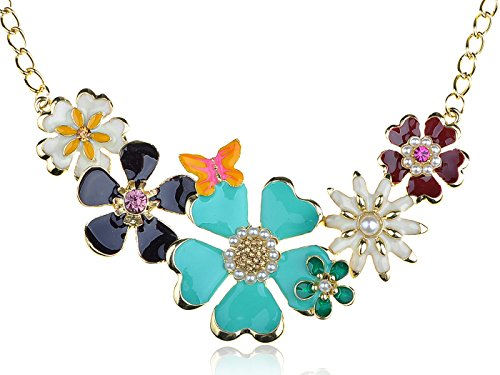 Alilang Golden Tone Enamel Flower and Butterfly Bib Statement Necklace Rhinestone -