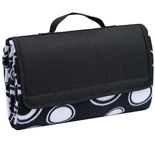 Apollowalker Classic Black Polka Dots Picnic Blanket Tote...
