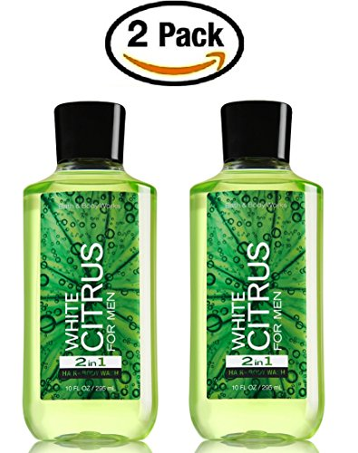 Citrus Scented Body Wash (Bath & Body Works White Citrus for Men Hair and Body Wash -- Pair of TWO (2) White Citrus Men's Shower Gels (10 ounces each))