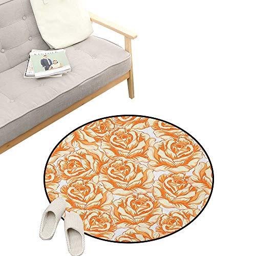 Burnt Orange Custom Round Carpet ,Romantic Rose Bouquet in Warm Tones Valentines Day Love Flowers, Dorm Room Bedroom Home Decorative 39