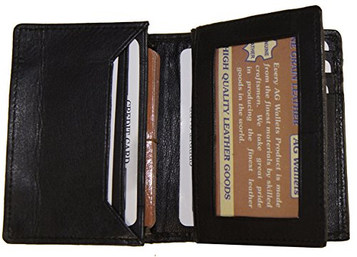 (AG Wallets Genuine Leather Expandable Credit/Business Card Wallet With Flip-Out ID)