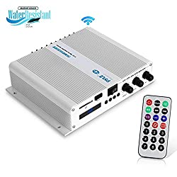 Pyle 6-Channel Audio Marine Amplifier - Compact Power 600 Watt RMS 4 OHM Full Range Stereo with Volume Bass Treble Rotary Control - Wireless Bluetooth Receiver Speaker & LCD Digital Screen