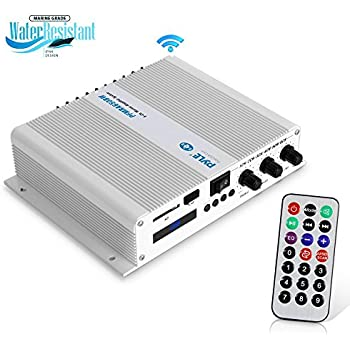 Pyle 6-Channel Audio Marine Amplifier - Compact Power 600 Watt RMS 4 OHM Full Range Stereo with Volume Bass Treble Rotary Control - Wireless Bluetooth ...