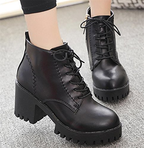 Satuki Mujeres Teen Girls Impermeable Cuñas De Tacón Alto Botas Altas Zapatos Casuales Negro (forro De Felpa)