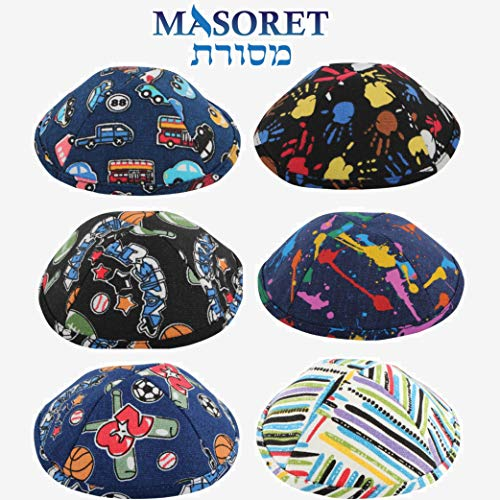(6 Piece Printed Kippah Set: 6 Colorful 7.5-Inch 19cm Hebrew Skullcaps, Kippots or Yarmulkes for Jewish Religious Purposes, Child Designs)