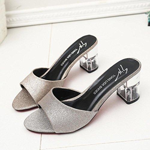la del de de verano de Zapatos del de flop sandalias del las Oro las manera verano mujeres talón Bohemia del flip LANDFOX PUAxaP