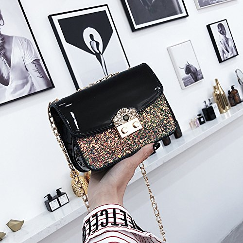 Diamond New Bag Fashion Gwqgz Lacquer Chain Sequin Inclined Leather xq0TPvwSF