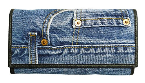 Bijoux De Ja Women Blue Denim Money Flap Wallet Wristlet Purse Clutch DMW06