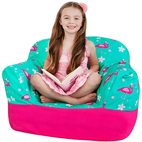 (Yayme! Pink and Teal Flamingo Kids Stuffed Animal Storage Bean Bag Chair Cover | Comfy Girls Cover Shaped Like an Armchair | Quality Fabric Cute Design Child Safe with Smooth Safety Locking Zipper)