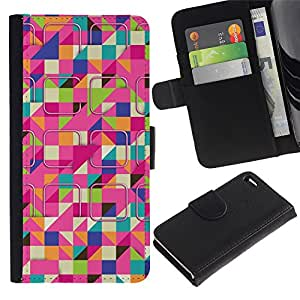 WINCASE Cuadro Funda Voltear Cuero Ranura Tarjetas TPU Carcasas Protectora Cover Case Para Apple Iphone 4 / 4S - esquiar modelo rosado colorido