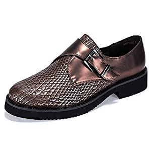 IDIFU Women's Betty-C Fashion Buckle Strap Oxfords Shoes Round Toe Low Heel Sneakers