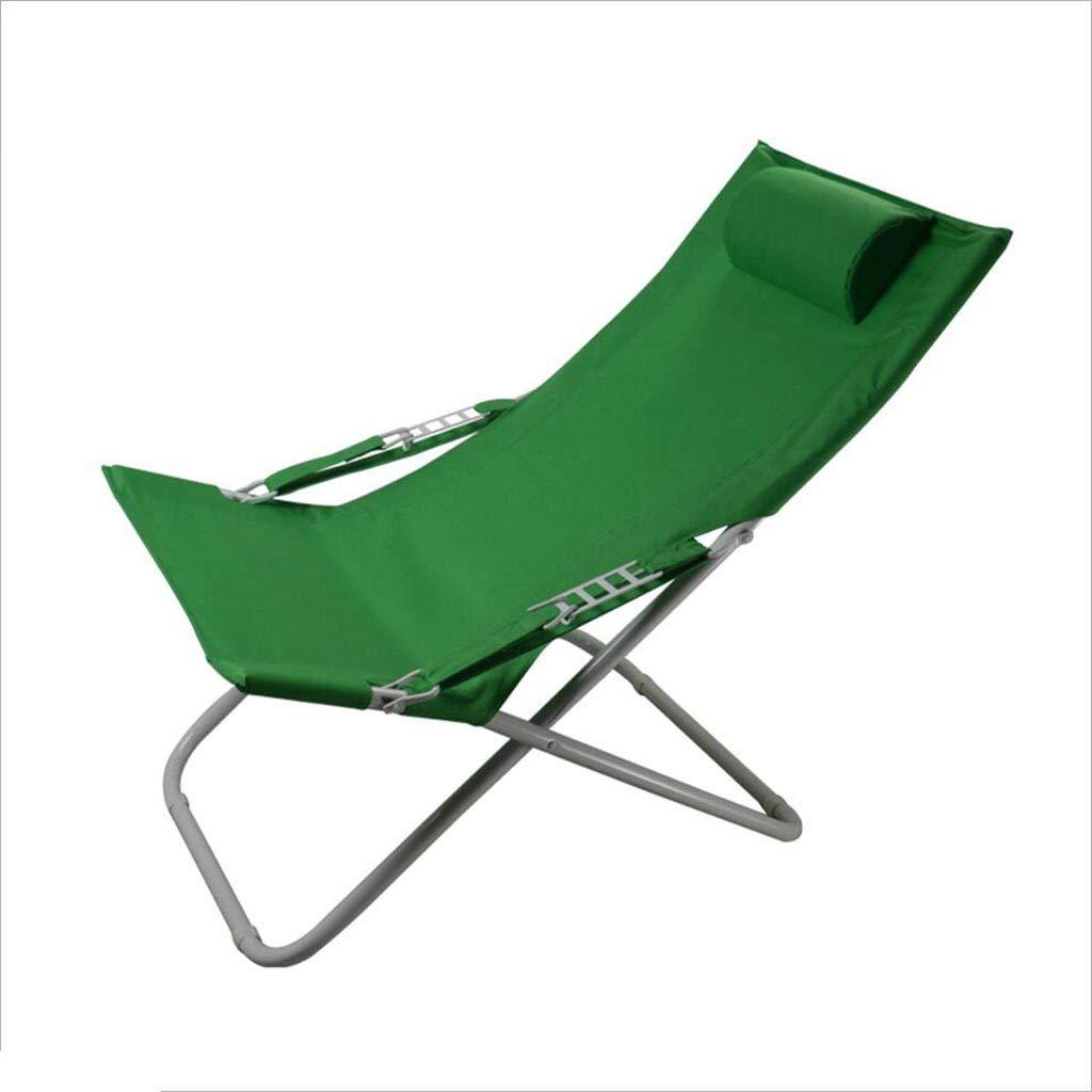 QZ HOME Stühle, Klappstuhl Eisen + Leinwand Strand Stuhl Gartenstuhl Blau + Grün (Farbe : Grün)