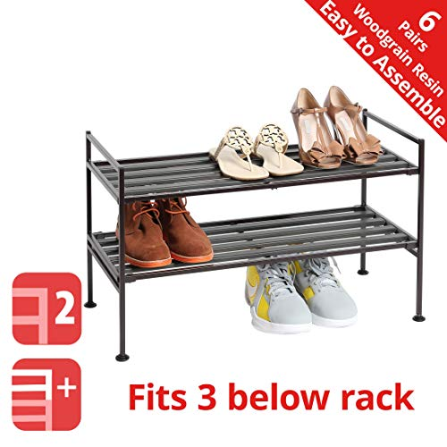 Seville Classics 2-Tier Stackable 6-Pair Woodgrain Resin Slat Shelf Sturdy Metal Frame Shoe Storage Rack Organizer, Perfect for Bedroom, Closet, Entryway, Dorm Room, Espresso (Two Shelves)