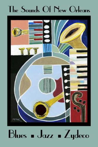 Matte Art Giclee (CANVAS Music New Orleans Louisiana Jazz Blues Zydeco Trumpet Piano Sax Player 20