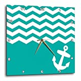 Cheap 3dRose dpp_120204_2 Chevron with Nautical Anchor Sailor Zigzag Pattern Waves Wall Clock, 13 by 13-Inch, Turquoise/White/Teal/Blue/Green