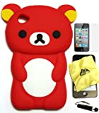 Bukit Cell Red bear 3D Cartoon soft silicone skin case cover for IPod Touch 4/4G/4th generation + free screen protector + free METALLIC detachable touch screen STYLUS PEN with Anti dust plug