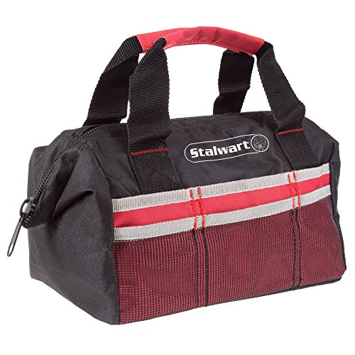 Soft Sided Tool Bag With Wide-Mouth Storage- Durable 12 Inch Compact Storage Pouch With Pockets for Tools and Organization By Stalwart (Red) by Stalwart