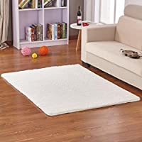 Hoomy Fluffy Floor Rugs Shaggy Living Room Floor Mats Nosnlip Solid Bedroom Area Rugs Soft Modern Rug White 4X5