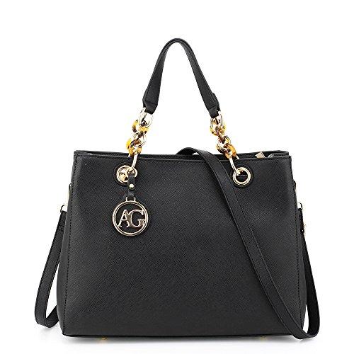 Womens Tote Handbag Ladies Shoulder Faux Leather Bag New Black