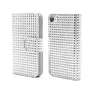 Girl Women Deluxe Noble Folio Cover Bling Gel Crystal Magnetic Closure Wallet Bag Leather Flip Case For Iphone 4 4S - Silver