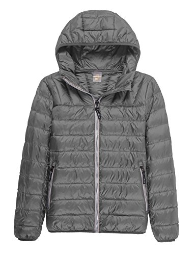 CHERRY CHICK Ultralight Unisex Style Slim Fit Down Jacket with Hood(2XL/Bust 48 Inches, Unisex Space Grey)