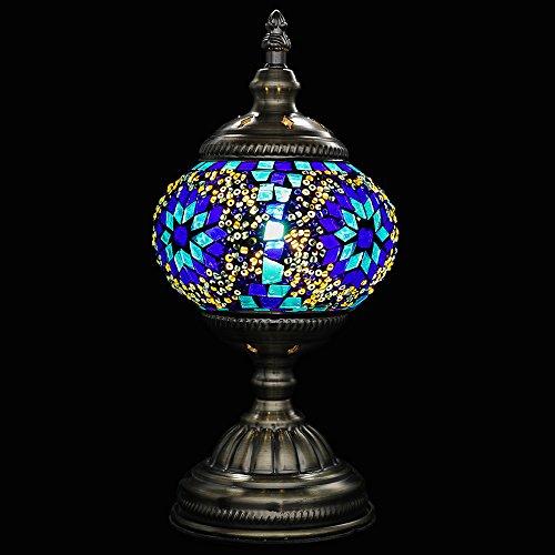 Mosaic Desk Table Marrakech Handmade Turkish Mosaic Moroccan Glass Table Lamp Moroccan Lantern with Bronze Base (Blue) ()