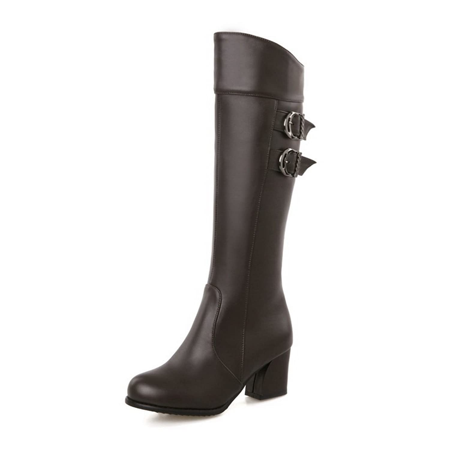 1TO9 Ladies Buckle Kitten-Heels Formal Imitated Leather Boots