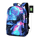 Liraly Women Bags,Clearance Sale! 2018 Galaxy School Bag Backpack Collection Canvas USB Charger for Teen Girls Kids (Blue A)