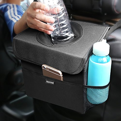 Inside Door Pocket Liner - Normei Car Trash Can Waterproof Car Trash Bags with Lid and Storage Pockets, Collapsible Car Garbage Can Adjustable Strap Fits to Headrest or Door Handle
