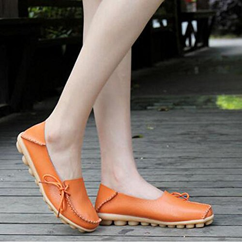 CHFSO Womens Comfortable Solid Side Lace Up Round Toe Low Top Slip-resistant Work Flats Orange VW5ppliZ