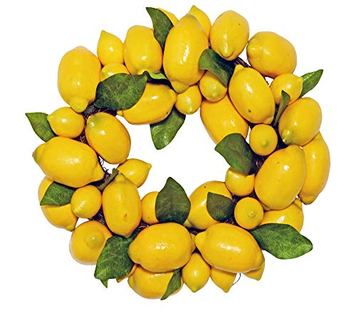Ten Waterloo Lemon Wreath with Leaves on Twig Base, 15 Inches, Artificial ()