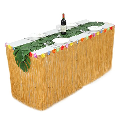 HB HBB MAGIC 9 ft Yellow Luau Table Skirt with Hibiscus Flowers and 12 pcs Palm Leaves Table Runner Hawaiian Grass Table Skirt Set for Luau Party Decoration by HB HBB MAGIC
