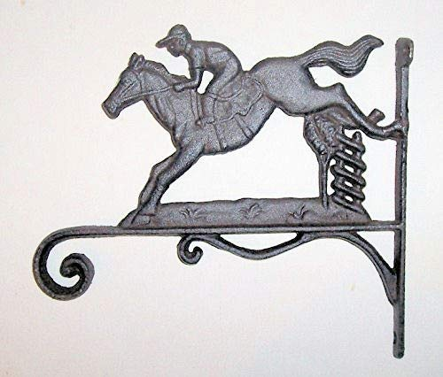 Dist By Classyjacs - Heavy Cast Iron - 9 Inch - All-Purpose Hanger - with a Horse and Rider - (Bronze Rustic Color - Primitive Design - Used Indoors or Outdoors)