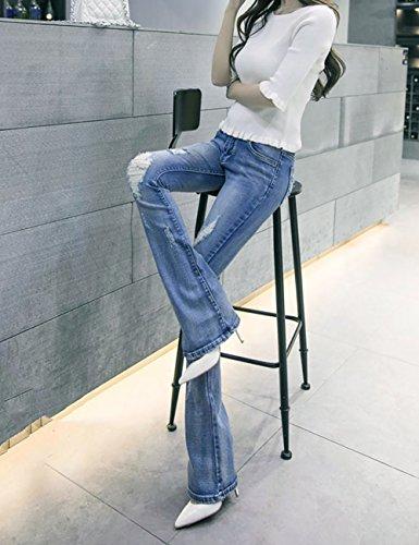 Strappati Stirata Uk Di Modo Del Pantaloni Tagliati Denim Forma Ladys A Delle Mena Beggars Azzurro Stoffa Donne Casuali wtOPpwWdq