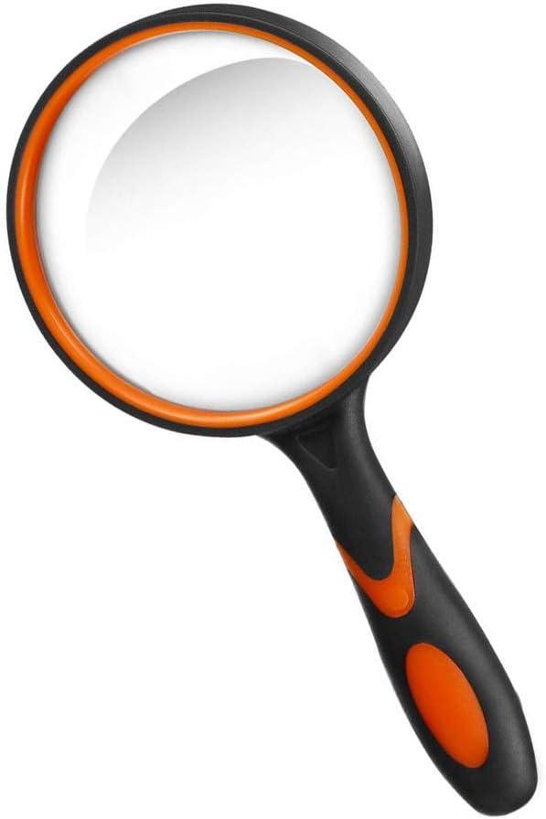 Lupa 10X, Lupa de Lectura portátil con Mango de Goma Blanda Antideslizante, Lente de 75 mm, Libros de Lectura de Espejo de Aumento irrompible, Inspección, Insectos (Naranja)