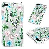 iPhone 7 Plus Case, iPhone 8 Plus Cover Ultra Skin Slim HD Clear & Full TPU Soft Shockproof Bumper Pretective Shell for iPhone 7 Plus/iPhone 8 Plus, Flower Cactus