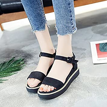 11a2afff30d798 LGK FA Summer Women S Sandals Simple All-Match Shoes With Flat Bottom Slope  With Thick Sponge