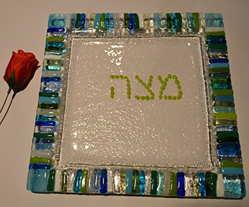 Mosaic glass fused Matzah plate Hebrew lettering by YafitGlass