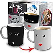 Unique Color Changing Funny Mug - Magic Coffee & Tea Cool Heat Changing Sensitive Cup 12 oz White Cute Face Design Drinkware Ceramic Mugs Morning Birthday Christmas Gift Idea for Mom Dad Women &Men
