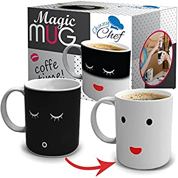 Unique Color Changing Funny Mug   Magic Coffee U0026 Tea Cool Heat Changing  Sensitive Cup 12 Oz White Cute Face Design Drinkware Ceramic Mugs Morning  Birthday ...