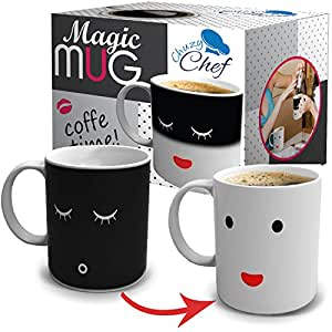 Magic Morning Coffee Mug 12 Oz Heat Sensitive Color and Face Changing Ceramic Tea Cup, By Chuzy Chef