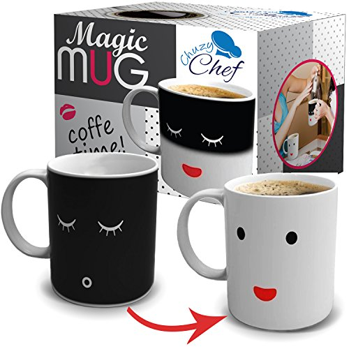 Unique Color Changing Funny Mug - Magic Coffee & Tea Cool Heat Changing Sensitive Cup 12 oz White Cute Face Design Drinkware Ceramic Mugs Morning Birthday Christmas Gift Idea for - Mug Changing
