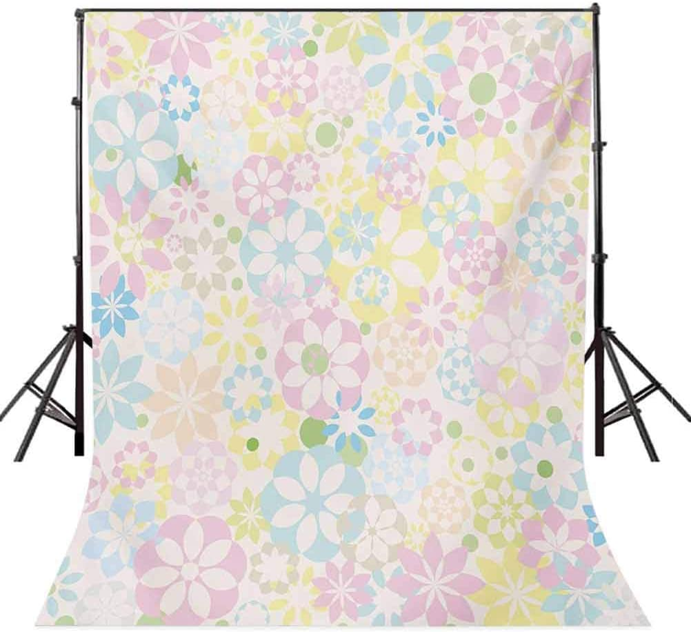 Pastel 6.5x10 FT Photo Backdrops,Blossoming Flowers Bedding Plants Spring Colors Botanical Colorful Meadow Theme Background for Party Home Decor Outdoorsy Theme Vinyl Shoot Props Multicolor