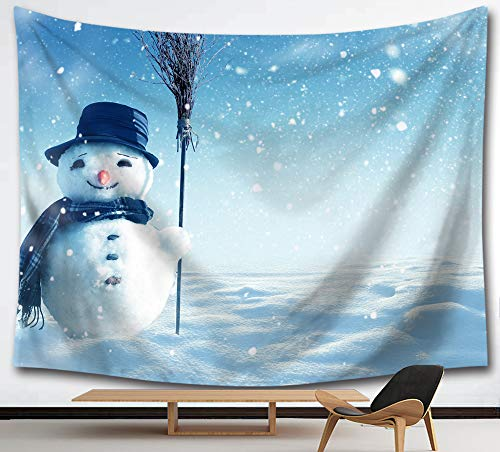 HMWR Christmas Smiling Snowman Tapestry Wall Hanging Winter Snowflake Cotton Mandala Hippie Tapestry Collage Dorm Beach Throw Wall Decor 60x51 Inches,Blue ()