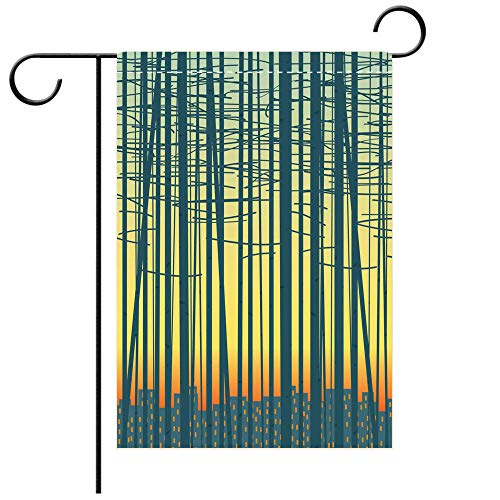 BEICICI Double Sided Premium Garden Flag Vector Background with a Grove Against The City Best for Party Yard and Home Outdoor Decor ()