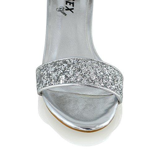 Essex Glam Talon Bas Cheville Sangle Sandales Strappy Argent Paillettes Argent