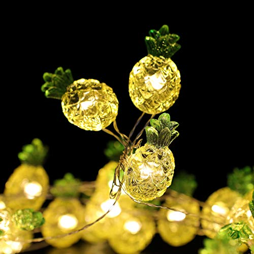 WSgift Crystal Tropical Pineapple String Lights, 18.7 Ft 40 LED USB Interface Copper Wire Fairy Lights for Various Indoor and Outdoor Decoration Projects (Warm White, Remote Control with Timer) ()