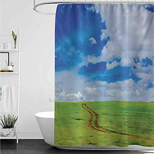 (home1love Polyester Fabric Shower Curtain,Country Earth Path Road on Grass Field Plateau Rural Countryside View with Clouds Image Print,Single stall Shower Curtain,W48x72L,Blue)